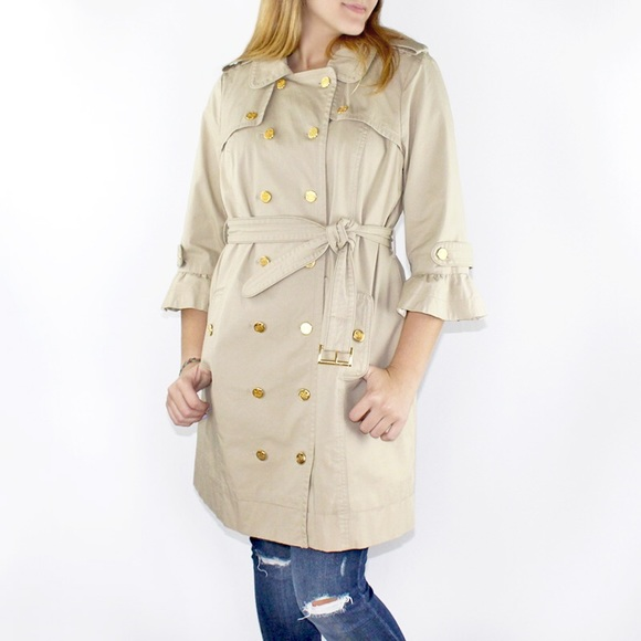 Juicy Couture 3 4 Sleeve Cotton Twill Trench Coat d367dc805